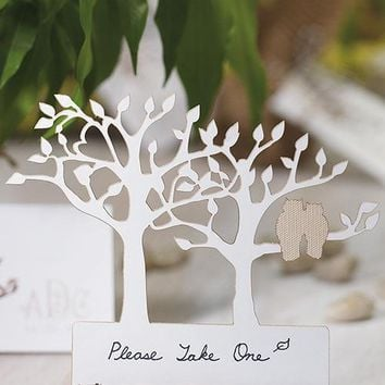 Laser Expressions Tree Silhouette With Owls Die Cut Card - White (Pack of 12)