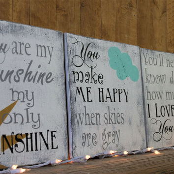 You Are My Sunshine Wood Sign Nursery Wallhanging Nursery Wall Art Above Crib Decor Baby Gift New Baby Shabby Chic Nursery Vintage Nursery