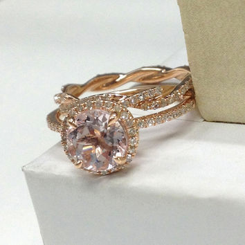 Wedding Ring Set!Morganite Engagement Ring,Diamond twisted Full Eternity Band 14K Rose Gold,7mm round cut Morganite,Stackable Matching Band