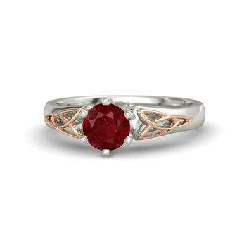 Round Ruby Platinum Ring