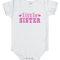 Cute little sister, pink text with hearts-Unisex White Baby Onesuit 00