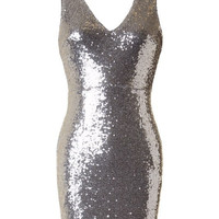 Ring in the New Year Sequin Dress - Silver