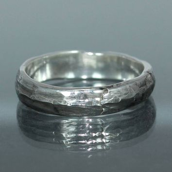 A handmade  Silver Wedding Band Organic Wedding Ring Mens Wedding Ring Rustic Silver Wedding Ring