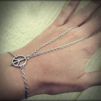 Peace Sign Silver Slave Bracelet Chain Body Jewelry