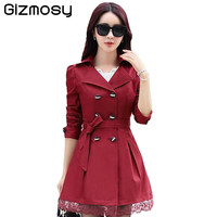 Women Trench Coat 2016 Korean Plus Size Lace Slim Double-Breasted Trench Coats Ladies Spring Outwear Clothing 7 colors BN623