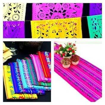 Mexican Fiesta Party Pack, 1 Papel Picado banner 16 feet, 1 table runner 14x72, and 6 Mexican Napkins, Fiesta Decoration, Cinco de Mayo.