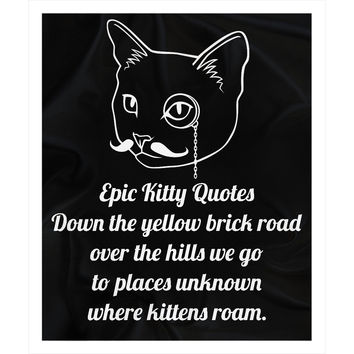 Unique Gifts for Cat Lovers Fleece Sherpa Blanket Down the yellow brick road over the hills we go to places unknown where kittens roam. 100% Polyester 50x60 inch EKQ