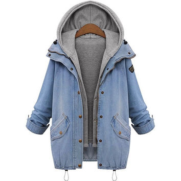 Plus Size Womens Winter Warm Denim Cowboy Hooded Coat + Vest Hoodie Jacket Jean Slim Fit Outwear Overcoat Tops [8389945409]