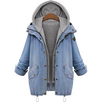 Plus Size Womens Winter Warm Denim Cowboy Hooded Coat + Vest Hoodie Jacket Jean Slim Fit Outwear Overcoat Tops [8403191879]
