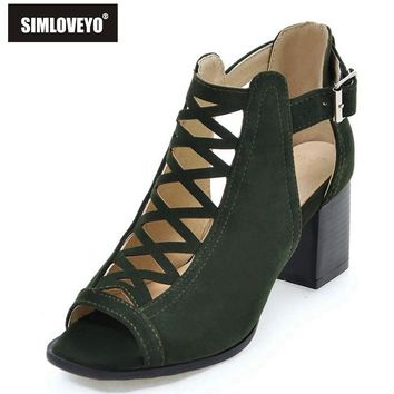 SIMLOVEYO Brand shoes Woman summer Gladiator Women sandals Sexy Peep toe Ankle strap High heel sandals Gift Socks Buckle L3347