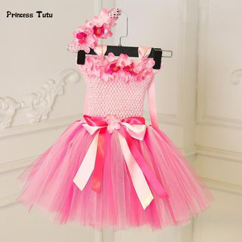 Princess Baby Girl Dress Pink Tulle Tutu Dress Flowers Newborn Toddler Christening Gown Baby Dress For Party Birthday Wedding