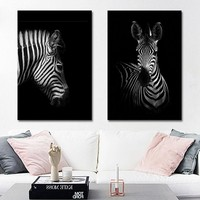 Nordic Canvas Painting Black White Giraffe Elephant Zebra Print Picture Animal Wall Art Poster Living Room Bedroom Home Decor