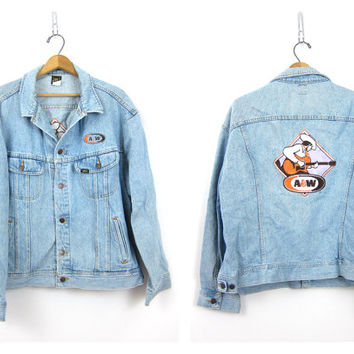 A&W LEE Jean Jacket Oversized Denim Coat Vintage Slouchy Denim Novelty Jacket Hipster Cowboy Western Guitar Patch Jacket Mens size XXL
