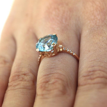 Gold Solitaire Ring - Blue gemstone ring - Topaz ring - Blue stone ring - Promise gold ring - Blue topaz ring