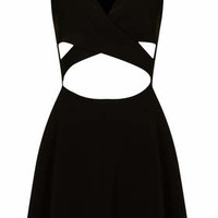 **BLACK CROSS OVER CUT OVER SKATER DRESS BY RARE