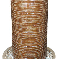 """Screen Gems Ribbed Column + Round Base, with Pebbles Fountain, for Indoor/Outdoor Use 19"""" X 32"""""""