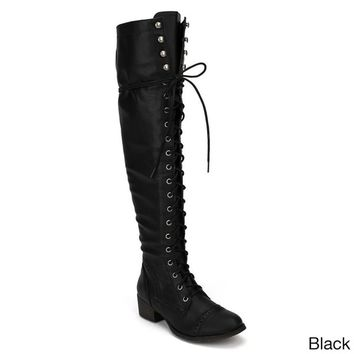 Breckelle's Women's 'Alabama-12' Elastic Over-the-knee Combat Boots | Overstock.com Shopping - The Best Deals on Boots