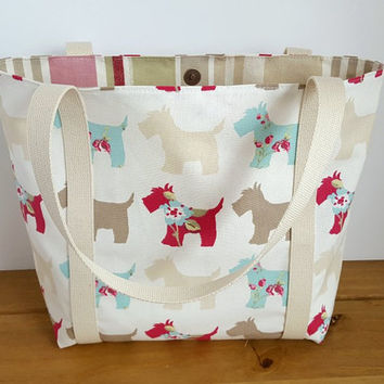 Canvas Market Bag, Scottie Dog Tote, Teacher Carryall, Lined Fabric Handbag, Animal Bag, Dog Lovers Gift, Summer Handbag, Long Handled Purse
