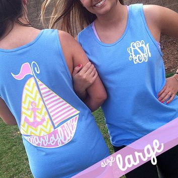 Monogrammed Carolina Blue Sailboat Boyfriend Tank | Clothing | Marley Lilly