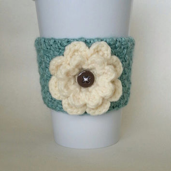Crochet Flower Coffee Cup Cozy Sea Foam and Cream