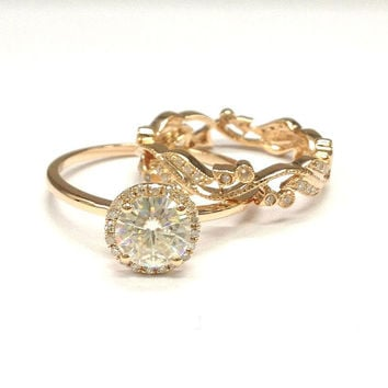 Diamond Wedding Ring Set!Moissanite Engagement Ring 14K Rose Gold,6.5mm Round Cut Moissanite,Retro Vintage Floral,Stackable Matching Band