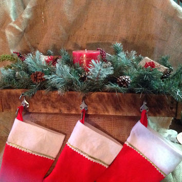 Stocking Holder Rustic Box Made from Refurbished Pallet Wood Burn Mantel Shelf Decor