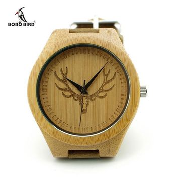 Engraved Buck Head Natural Wood Watch With Genuine Cowhide Leather Band Lovers Luxury Bamboo Customed Watch with Paper Gift Box
