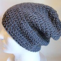 Slouchy Beanie Gray Mens - Crochet Slouch Beanie Charcoal Grey Mens Beanie Hipster Hat - Dark Gray Slouchy Beanie - Fall Apparel