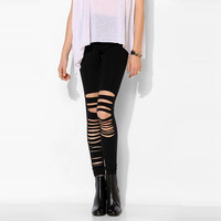 Black Slit Design Leggings