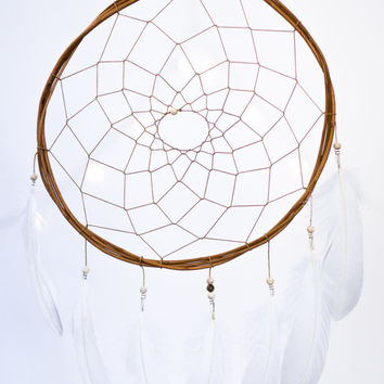 White Boho DreamCatcher - White Feathers and Beads - Wall Hanging Dream Catcher - Native American Dream Catcher - Hippie Wedding