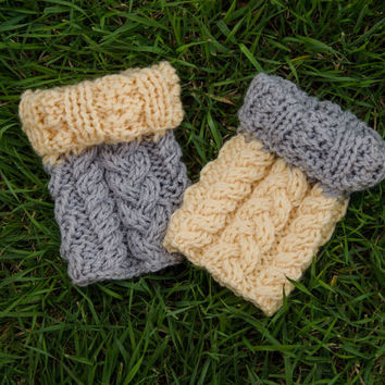 Knit Boot Toppers 2 in 1 - Boot Cuffs in Two Colors - Acrylic and Wool Boot Tops - Cozy Cable and Braid Knitting - READY TO SHIP