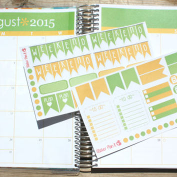 August Monthly Matching Erin Condren Planner Kit - Planner Stickers