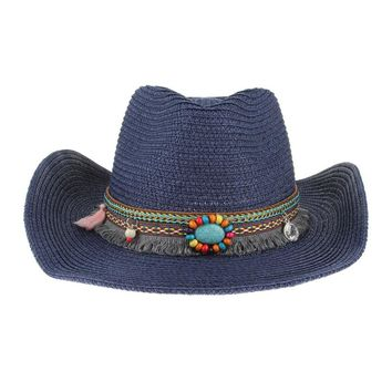 Handmade Knitted Straw Hat- Summer Western Cowboy Hat_Rodeo_Festival