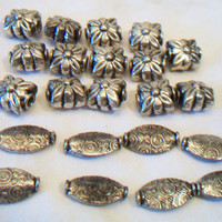 Sterling Silver Jewelry Making Beads Flowers Oval Paisley Discs Groovy Hippie Boho