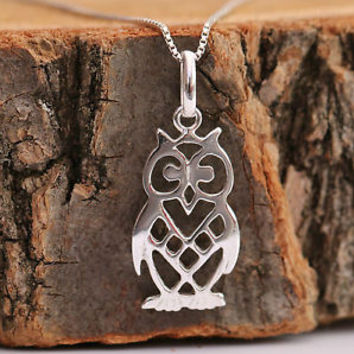 Sterling Silver Necklace Owl Pendant Lucky Gift Wisdom Mystery with Box New