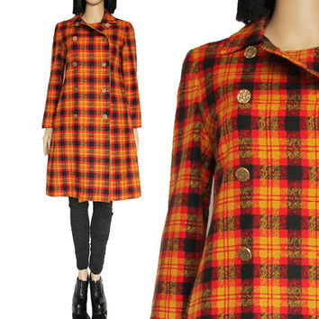 60's Plaid Coat Red Yellow Double Breasted Long Fall Outerwear Preppy Hipster Mod 90s Clueless Clothing Women's Size Medium Petite