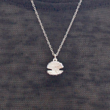 Pearl and Clam Shell Necklace, Sterling Silver Clam Shell Necklace, Clam Shell Necklace, Silver Clam Shell necklace, Beach Wedding,