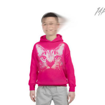 kids cat hoodie, pink cat hoodie, cat clothing, fuchsia cat hoodie, heliconia, cat pullover hoodie, youth S-XL