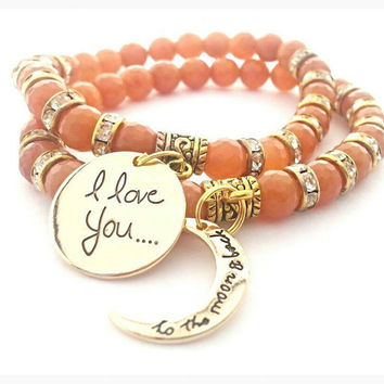 I Love You To The Moon And Back Bracelet Set