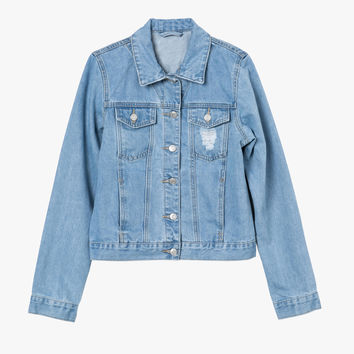 Button Front Crop Denim Jacket