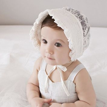 New Summer Sweet Cute Lovely Adorable Lace Floral Baby Children Girl Beanie Royal Sun-proof Adjustable Dad Bucket Hat Caps