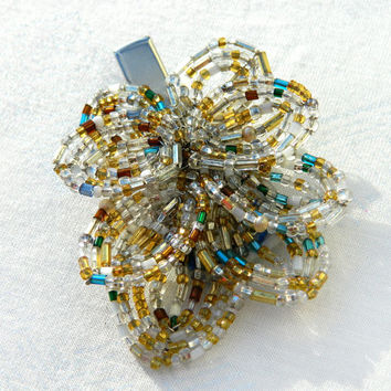 Gold and Teal Wedding Headpiece, French Beaded Leaves Hair Clip, Leafy Branch Bridal Hairpiece