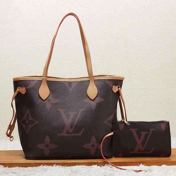 Louis Vuitton LV Women Shopping Leather Tote Handbag Shoulder Bag Purse Wallet Set Two-Piece Coffee