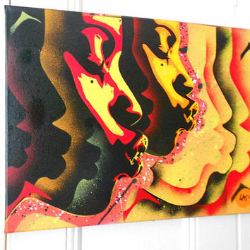 Kiss series stencil art painting good vibrations spray paints afro american art African pop art abstract graffiti street art canvas yellow