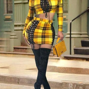 New Yellow-Black Plaid Pattern Lace Up Two Piece Bodycon Mini Dress