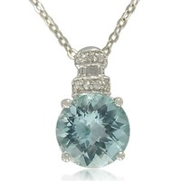 Sterling Silver Round-Shaped Semi Precious Stone with White Topaz-Accent Pendant Necklace, 18""