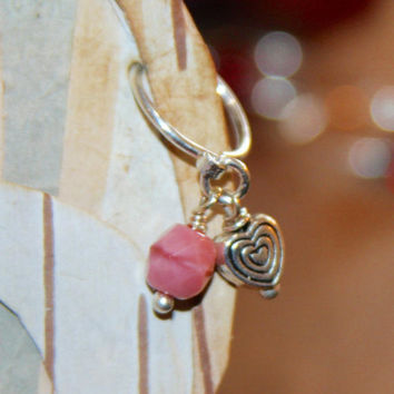 Heart Cartilage Earring, Heart Belly Button Ring, Ear Heart Jewelry, Daith, Rook, Tragus, Snug, Helix, Forward Helix, Pink Cartilage Earring