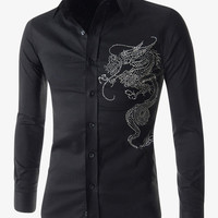 Embroidered Dragon Pattern Long Sleeve Shirt In Black