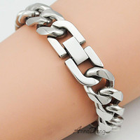 21cm 13mm Cool Fashion High Quality Stainless Steel Pop Punk Rock Style Round Chain Link Bracelet Men Jewelry AB713