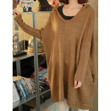 Stylish V-Neck Loose-Fitting Hooded Sweater For Women
